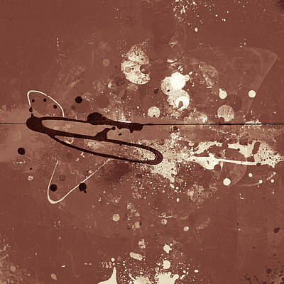 Over The Edge - Brown Monochromatic Abstract Art Poster by Modern Art Prints