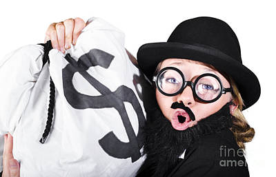 Disguised Woman Holding Moneybag Poster