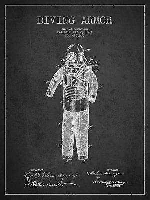 Diving Armor Patent Drawing From 1893 Poster by Aged Pixel