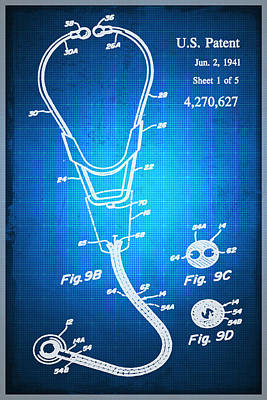 Doctor Stethoscope 2 Patent Blueprint Drawing Sepia Poster