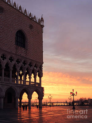 Doges Palace At Sunrise Venice Italy Poster by Matteo Colombo