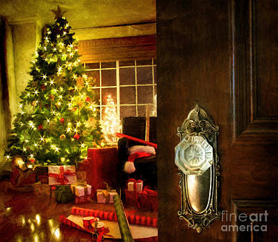 Door Opening Into A Christmas Living Room Digital Painting Poster by Sandra Cunningham
