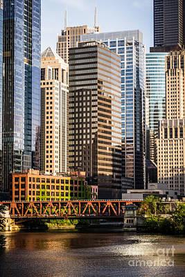 Downtown Chicago Buildings At Lake Street Bridge Poster