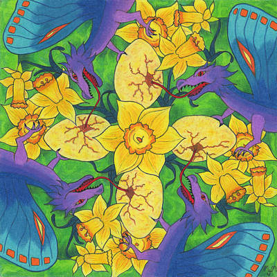 Dragondala Spring Poster by Mary J Winters-Meyer