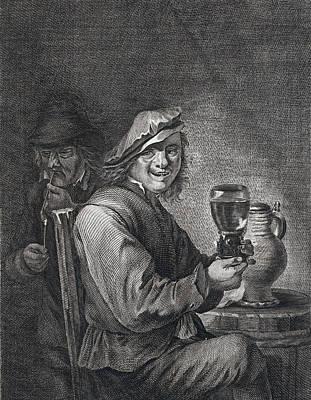 Drinking And Smoking, Man, Glas, Jug, Pipe, Pipe, Barrel Poster