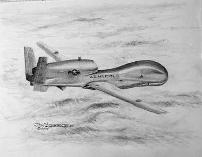 Poster featuring the drawing Drone Rq-4 Global Hawk by Jim Hubbard