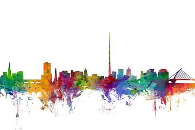 Dublin Ireland Skyline Poster by Michael Tompsett