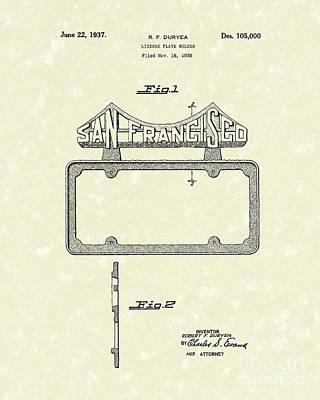 Duryea License Holder 1937 Patent Art Poster