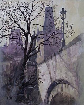 Dusk At The Charles Bridge Poster by Marina Gnetetsky
