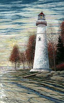 Eagle Bluff Light Poster by Steven Schultz