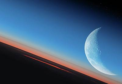 Earth And Moon From Orbit Poster