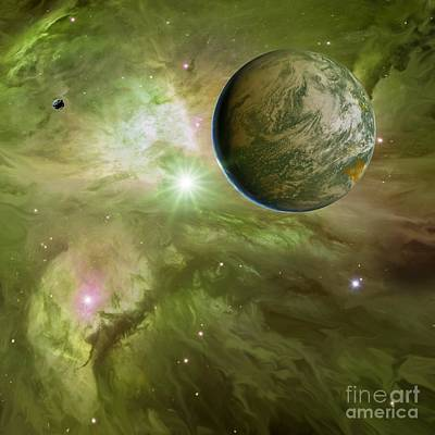 Earthlike Planet In Orion Nebula Poster