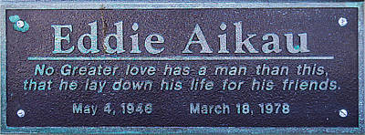 Poster featuring the photograph Eddie Aikau Plaque by Leigh Anne Meeks