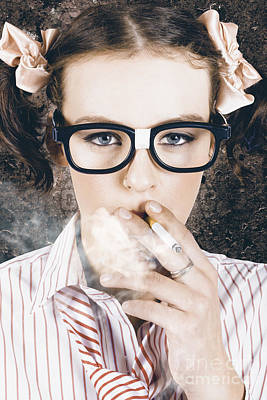 Edgy Grunge Portrait Of A Smoking Hipster Nerd Poster