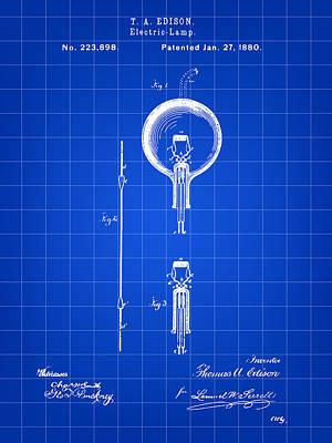 Edison Light Bulb Patent 1880 - Blue Poster