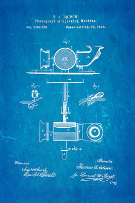 Edison Phonograph Patent Art 1878 Blueprint Poster by Ian Monk