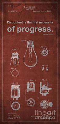 Edison Quote Lamp Patent Blueprint Poster by Pablo Franchi