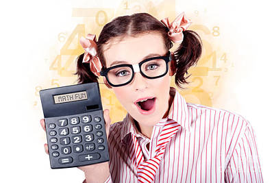 Education Math Tutor Holding Numbers Calculator Poster