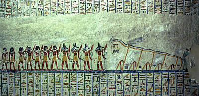 Egyptian Hieroglyphs On The Wall, Tomb Poster