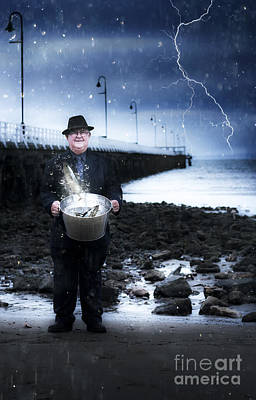 Elderly Fisherman Holding A Bucket Of Fish Poster