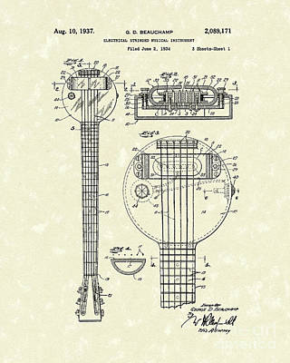 Electric Guitar 1937 Patent Art Poster by Prior Art Design