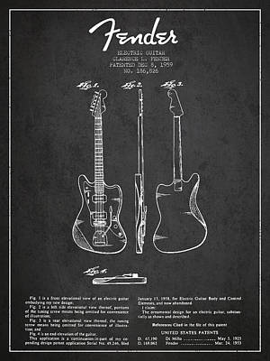 Electric Guitar Patent Drawing From 1959 Poster by Aged Pixel