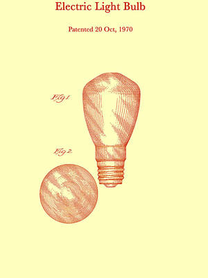 Electric Light Bulb Patent 1970 Poster by Mountain Dreams