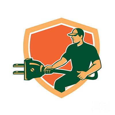 Electrician Carrying Electric Plug Shield Retro Poster by Aloysius Patrimonio