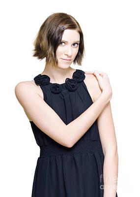 Elegant Fashion Model In Black Evening Dress Poster