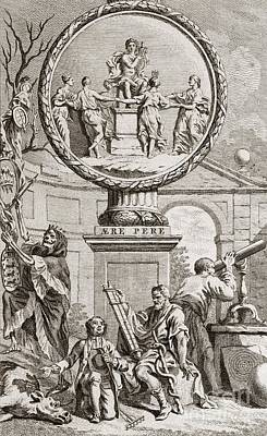 Engraving Depicting Discord And Harmony Poster