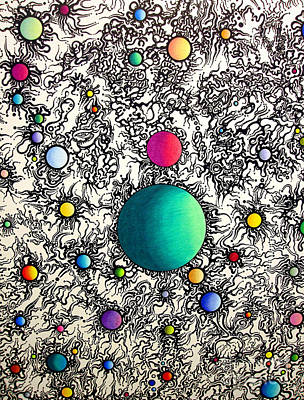 Poster featuring the drawing Entropy Color Variation 6 by Devin  Cogger