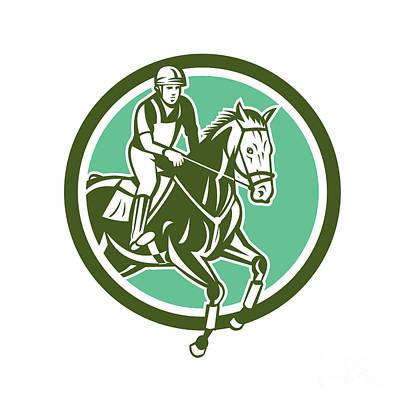 Equestrian Show Jumping Circle Retro Poster by Aloysius Patrimonio