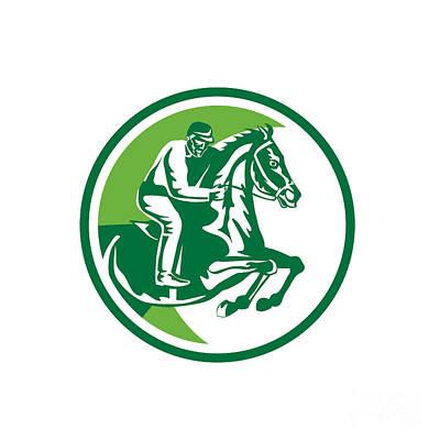 Equestrian Show Jumping Side Circle Retro Poster by Aloysius Patrimonio
