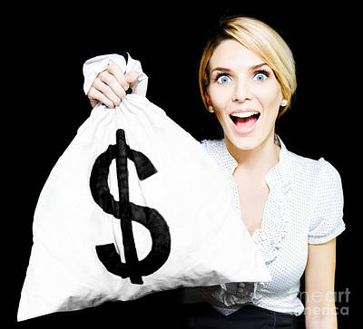 Euphoric Business Woman Holding Unexpected Windfall Poster by Jorgo Photography - Wall Art Gallery