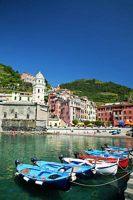 Europe Italy Vernazza City And Church Poster by Terry Eggers