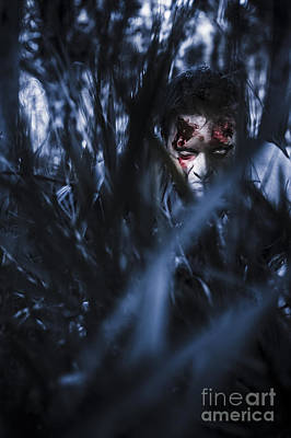 Evil Man Hiding In Silence At Dark Forest  Poster