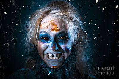 Evil Winter Monster Smiling Beneath Falling Snow Poster by Jorgo Photography - Wall Art Gallery