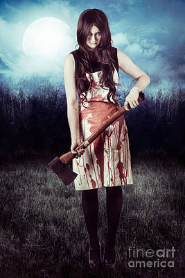 Evil Woman Standing In Dark Field Carrying Axe Poster