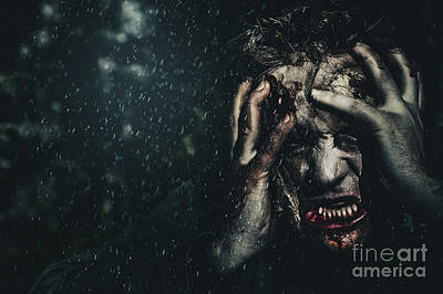 Evil Zombie Man In Fear At Dark Haunted Forest Poster
