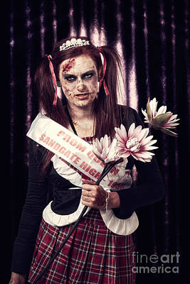 Evil Zombie Prom Queen Holding Flowers On Stage Poster by Jorgo Photography - Wall Art Gallery