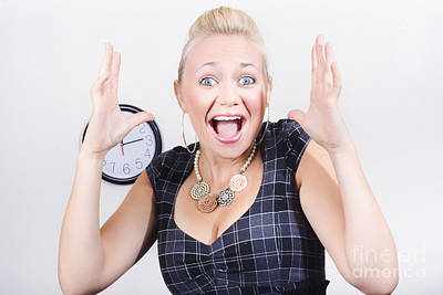 Excited Business Woman Screaming Out In Success Poster