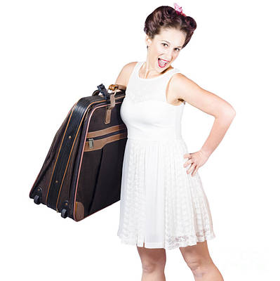 Excited Retro Backpacking Girl Holding Baggage Poster