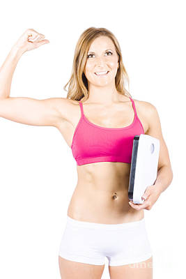 Excited Weight Loss Woman Over White Background Poster