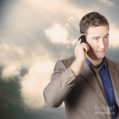 Executive Business Man On Cell Phone Outdoors Poster by Jorgo Photography - Wall Art Gallery