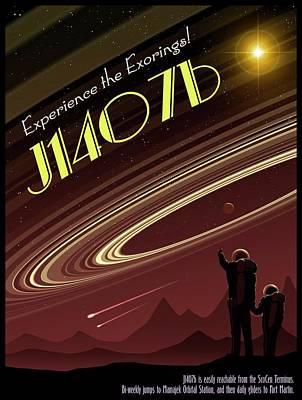 Exoring J1407b - Travel Poster Poster
