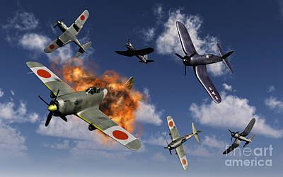 F4u Corsair Aircraft And Japanese Poster by Mark Stevenson