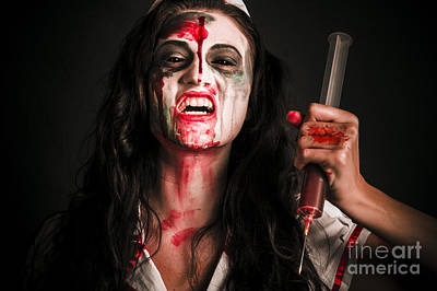 Face Of A Creepy Nurse Making Stab With Big Needle Poster by Jorgo Photography - Wall Art Gallery