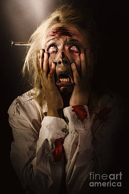 Facing Dark Horror. Dying Zombie Screaming In Fear Poster