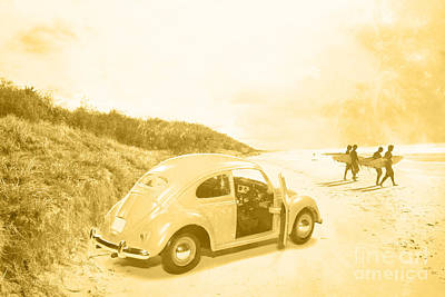 Faded Film Surfing Memories Poster