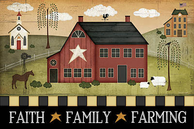 Faith, Family, Farming Poster by Jennifer Pugh